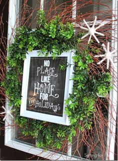 Super Easy DIY Boxwood Christmas Wreath with No Place Like Home for the Holidays Framed Printable ~ Setting for Four