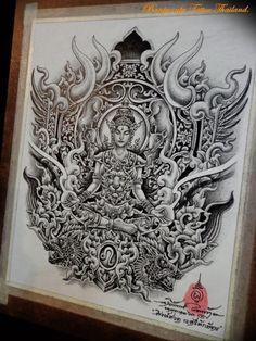 Om Tattoo Design, Tattoo Designs, Dragon Tattoo Full Back, Thailand Tattoo, Thai Tattoo, Thai Art, Hanuman, Line Art, Sculpture