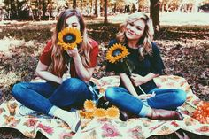 Sunflowers and fall time with bffs
