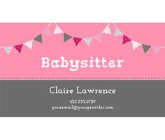 Download this Babysitter Business Card Template and other free printables from MyScrapNook.com