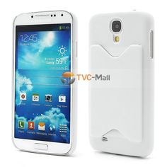 Credit Card Holder Matte Plastic Hard Case Cover for Samsung Galaxy S4 IV i9500 i9502 i9505 - White