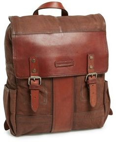 $578, Brown Leather Backpack: Frye Trevor Buffalo Leather Backpack. Sold by Nordstrom. Click for more info: https://lookastic.com/men/shop_items/97155/redirect