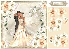 The Bride And Groom  on Craftsuprint designed by Julie Hutchings - Wonderful card topper/card front with some floral decoupage and sentiment tag Bride and Groom  - Now available for download!