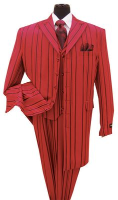 New Men's 3 piece Milano Moda Elegant Fashion suits Red/Black Strips  30435V #MilanoModa #6button