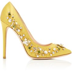 Gedebe Veronique Embellished Pump (2,300 PEN) ❤ liked on Polyvore featuring shoes, pumps, yellow, yellow satin shoes, yellow stiletto pumps, jeweled pumps, heels stilettos and stiletto high heel shoes