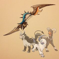 Omfg I love these three dogs, this is perfect! Pokemon Pins, All Pokemon, Pokemon Fusion, Pokemon Games, Pokemon Crossover, Pokemon Gijinka, Concept Weapons, Pokemon Pictures, Fantasy Weapons