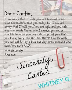 Sincerely Carter By Whitney G  Sincerely Carter