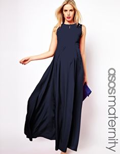 1df3fb16594bc NAVY BLUE MATERNITY DRESS - Mansene Ferele