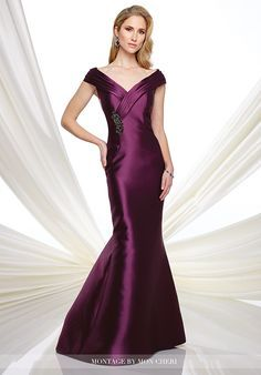 Tip-of-the-shoulder Mikado mermaid dress with pleated cap sleeves, pleated crisscross V-neckline finished with hand-beaded motif, sweep train.