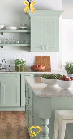 childrenbifunow 51 designs for green cooking - Decorchambre -  51 designs for green cooking The color of earth, trees and forests – green can give life to any k - #cooking #decorchambre #designs #FurnitureDesign #GraphicDesign #green #LogosDesign #Typography<br> Green Kitchen Cabinets, Farmhouse Kitchen Cabinets, Kitchen Cabinet Colors, Painting Kitchen Cabinets, Kitchen Paint, New Kitchen, Farmhouse Kitchens, Sage Kitchen, Kitchen Cabinetry