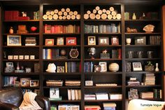 I love this wall of bookshelves and the shelf styling.