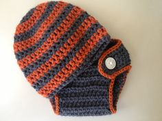 Striped Crochet Baby Hat and Diaper Cover Baby Boy Halloween colors Fall baby stripes newborn baby photo prop custom colors
