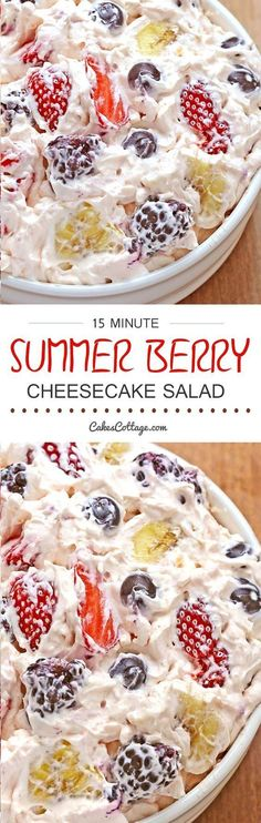 Summer Berry Cheesecake Salad - delicious absolutely loaded with berries tossed in a thick rich and creamy cheesecake mixture a must have for all picnics BBQ's potlucks and family get-togethers. Fruit Recipes, Summer Recipes, Dessert Recipes, Cooking Recipes, Recipies, Winter Recipes, Coctails Recipes, Mexican Recipes, Recipes Dinner