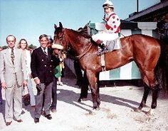 Trainer Woody Stephens with owner Henryk de Kwiatkowski in the winner's circle with the champion filly De La Rose (by Nijinsky II out of Rosetta Stone).