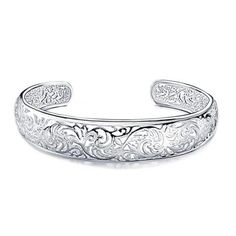 Sterling Silver Filigree Floral Cuff Bangle Bracelet - This sterling silver cuff bracelet showcases a gorgeous vine motif openwork design. Polished and oxidized silver add depth and interest to the pattern. This is an eye-catching accessory Sterling Silver Filigree, Sterling Silver Cuff Bracelet, Silver Bangle Bracelets, Jewelry Bracelets, Silver Jewelry, Jewellery, Oxidized Silver, Women's Jewelry, Just In Case