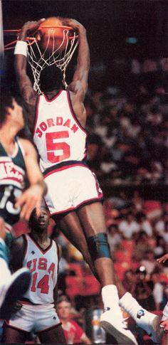 Michel Jordan wearing #5 in 1984 Olympics