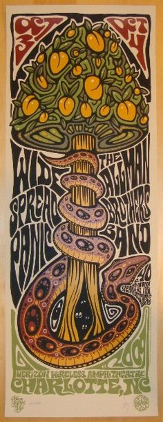 Widespread Panic & Allman Brothers Band - silkscreen concert poster (click image for more detail) Artist: Jeff Wood of Drowning Creek Studios Venue: Verizon Wireless Amphitheatre Location: Charlotte, Rock Posters, Band Posters, Concert Posters, Music Posters, Widespread Panic, Allman Brothers, Psy Art, Kunst Poster, Psychedelic Rock