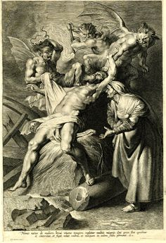 Job tormented by demons and abused by his wife. Job stretched over a large rock at centre, with his left foot resting on a broken column, three winged demons about to stab and burn him, his wife standing at right; first state before number; after Peter Paul Rubens Engraving  Print made by Lucas Vorsterman, 1622-28