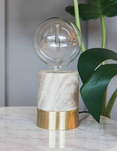 Exposed Bulb Marble Table Lamp