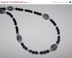 33%OFF White and Black Swirl Lampwork Czech Necklace by EriniJewel