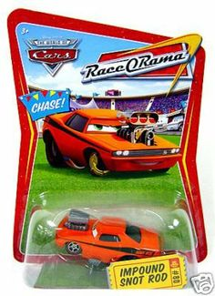 Disney / Pixar CARS Movie 1:55 Die Cast Car Series 4 Race-O-Rama Impound Snot Rod Chase Piece! by Mattel. $30.97. Ages 4 and up.. 1:55 Scale Die Cast Vehicle. The World Of Cars. The fun of the animated sensation continues with this assortment featuring classic characters from the movie CARS. These 1:55 scale die-cast cars are big on personality and detail. Ages 4 and up. From Mattel
