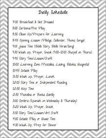 Daily schedule Preschool