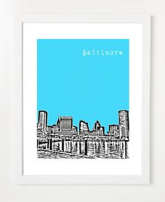 Baltimore Art City Skyline Poster - 8X10 Art Print from birdAve on Etsy, $20.00