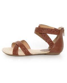 City Classified Fazan Tan Braided Flat Sandals