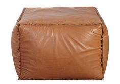 Pouf Soft Brick en cuir véritable / 60 x 60 cm Cuir marron - House Doctor House Doctor, Leather Pouf, Cottage Lounge, Pouf Cuir, Brown Leather Furniture, Brown Ottoman, Sweet Home, Mobile Shop, Houses