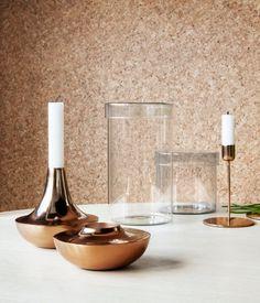 Candlestick in copper-colored metal. Height 4 1/2 in., diameter 5 in.