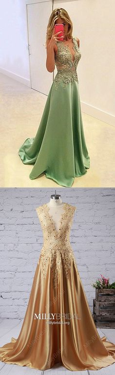 Long Prom Dresses Modest,Green Prom Dresses A-line,V-neck Prom Dresses Lace,Silk-like Satin Prom Dresses Sleeveless