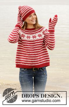 Candy Cane Lane Sweater - Knitted jumper in DROPS Karisma. The piece is worked top down, with round yoke and Nordic pattern. Sizes S - XXXL. Free knitted pattern DROPS Design 2019 Candy Cane Lane / DROPS - Free knitting patterns by DROPS Design Jumper Knitting Pattern, Jumper Patterns, Mittens Pattern, Knitting Patterns Free, Knit Patterns, Free Knitting, Start Knitting, Finger Knitting, Knitting Machine
