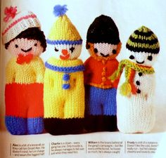 Knitting PATTERN to make 8 little dolls soft toys. Each of eight soft dolls/toys is made from a simple basic shape, with arms, legs and neck formed by stitched 'crease lines'. An ideal way of using up scraps of wool, they're so quick to make you can turn them out by the dozen for bazaars – it's a great way to start off young knitters, too. MATERIALS -Scraps of 3-ply, 4-ply or DK yarn (stick roughly to the same yarn for each doll); -Tapestry yarn for details; -1 pair № 14/2 mm knit...