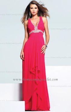 8ed0889a73b V-neck empire draping beaded chiffon A-line Evening Dress - gopromdres.com
