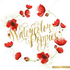 Watercolor Red Flowers Poppies ClipArt Intant by froufroucraft
