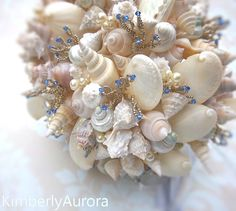 Shell & blue bouquet -  perfect the beach themed wedding