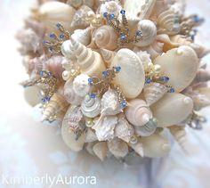 Shell & blue bouquet -  perfect the beach themed wedding