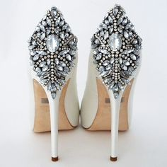 Badgley Mischka Kiara Wedding Shoes, White. A bridal shoe that makes a fabulous entrance and exit. https://perfectdetails.com/kiara-white.htm ps. this picture was taken by and belongs to perfectdetails.com - please do not delete the link. thanks!