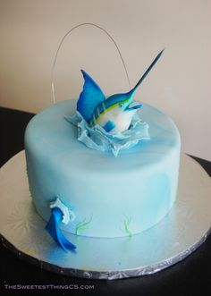 Marling Fishing Birthday Cake - Fisherman Cake! Marble cake with swiss meringue buttercream. fondant Marlin. I named him Manny the Marlin. C=