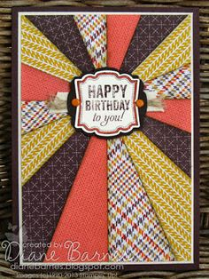 colour me happy: Sunburst birthday card for guys (& instructions).. 8 rectangles 12cm x 5cm cut diagonally in triangles. trim excess.