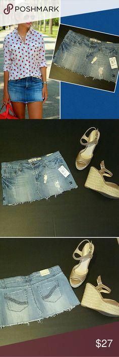 "VANILLA SKY Factory Distressed Jean Mini Skirt NWT Short & sexy factory distressed denim skirt from Vanilla Star size 3, still new with tags.  Laying flat, it measures 15.5"" across the waist, 10.5"" long. Vanilla Sky Skirts Mini"