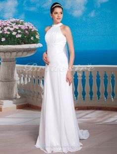 Sheath/ Column Chiffon Satin Watteau Train Halter Wedding Dress - $134.99