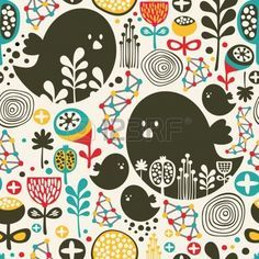 Cool seamless pattern with birds, flowers and geometric elements  Illustration