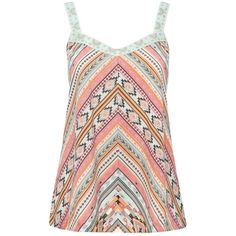 M&Co Chevron Print Cami Top ($7.65) ❤ liked on Polyvore featuring tops, shirts, tank tops, tanks, aqua, holiday shirts, holiday tops, woven shirts, summer shirts and cami top