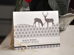 In The Meadow Revisited - Winter Birthday Card by Maile Belles for Papertrey Ink (December 2012)