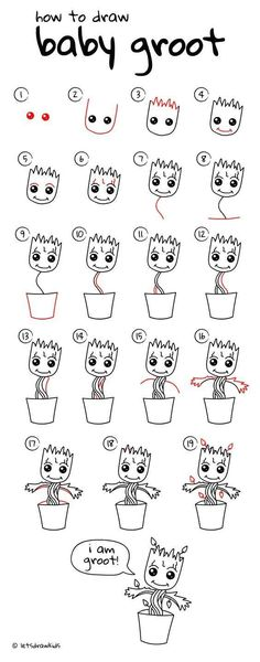 drawings - how to draw Baby Groot. Simple drawing, step by step Drafting drawings - how to draw Baby Groot. Simple drawing, step by step -Drafting drawings - how to draw Baby Groot. Simple drawing, step by step - Easy Drawing Steps, Step By Step Drawing, Drawing Tips, Drawing Art, Drawing Tutorials, Learn Drawing, Step By Step Sketches, Drawing Faces, Drawing Cartoon Animals