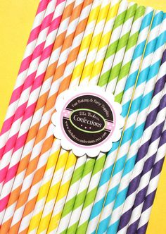 Paper Straws - GIRLS Rainbow Stripes with Printable DIY Flag Toppers (30 count). $5.00, via Etsy.