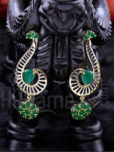 Earrings with Designer Green AD Stones