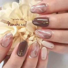 Autumn / Hand / Marble / Medium / Beige Nail art by Sumiyoko Nanaho ☆ nail (Yao city, book - - Beige Nail Art, Beige Nails, Nude Nails, Gel Nails, Nail Polish, Asian Nail Art, Asian Nails, Korean Nail Art, Nagellack Design