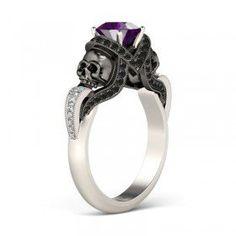 Twist Vapor-like Black Ribbons 2-tone Round Cut Amethyst Rhodium Plated Sterling Silver Skull Ring